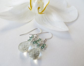 Green Quartz Earrings, Briolette Earrings, Sterling Silver Earrings, Green Amethyst Briolettes, Prasiolite Drop Earrings, Gemstone Earrings