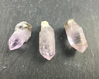 Amethyst Natural Raw Crystals   Lot of 3   Raw Natural Healing Crystal