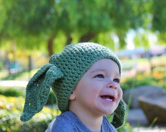 Yoda crochet beanie hat great photo props or baby shower gift or birthday