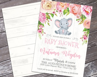 Baby Elephant Shower Invitation - Little Peanut Invite, Watercolor Pink Flowers, Jungle, Baby Shower | DIY Instant Download PDF Printable