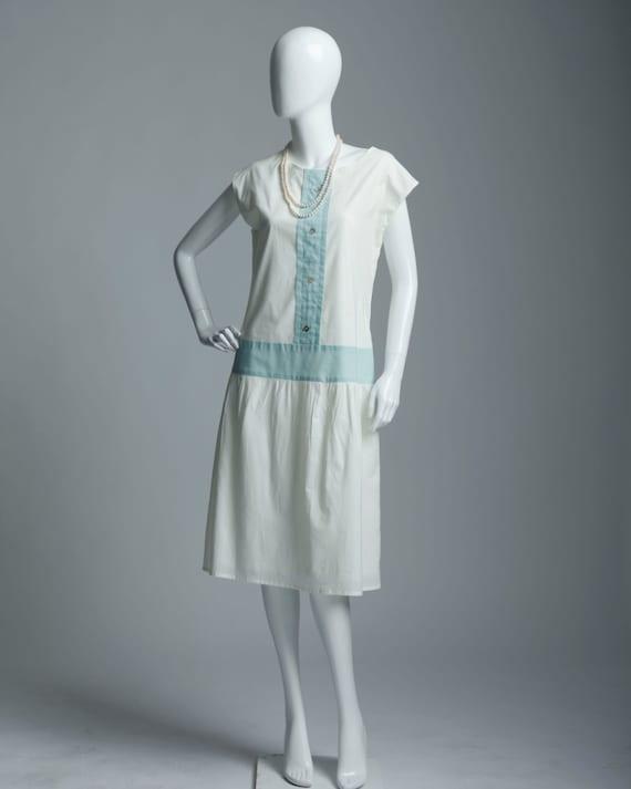 1920s Style Dresses, Flapper Dresses Off-white cotton dress with aquamarine details $130.00 AT vintagedancer.com