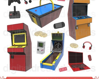 Video Game Clipart, Arcade Clip Art, Game Image, Controller Graphic, Gameboy PNG, Skee Ball Scrapbook, Joystick, Air Hockey Digital Download