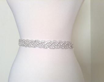 1 yard of Rhinestone beaded bridal sash applique, wedding sash, bridal accessories
