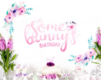 "Party Backdrop - ""It's Some Bunny's Birthday"" Printable Bunny Backdrop for Girl Turning One - Cake Smash Watercolour Backdrop"