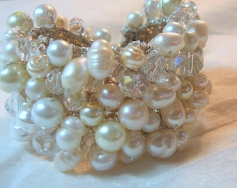 Freshwater, Pearls, Crystals, Wide Hand Knit Bridal Wedding Bead Cuff Bracelet, White, Ivory Unique Original Exclusive, Sereba Designs