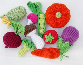 Crochet baby Rattle, Fruits and Vegetables set of 10, Ecofriendly toys play food toys,toddlers toys,birthday gifts ,Summer Fun, Pretend Play