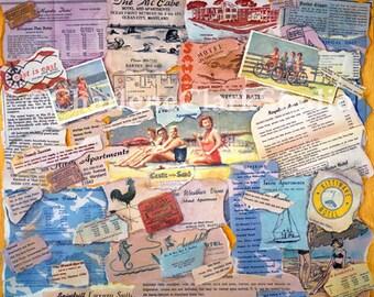 Vintage OCEAN CITY MD Collage - Poster-size, signed Print
