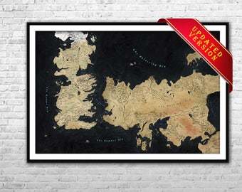 Game of Thrones map - Westeros Map Essos map Archival Paper Canvas Print GOT Wall Art Game Of Thrones map poster Ice and Fire map