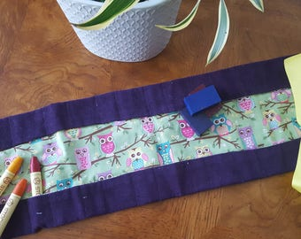 Waldorf Crayon Roll, purple outside with owl pattern inside, yellow  ribbon tie, holds 24 crayons