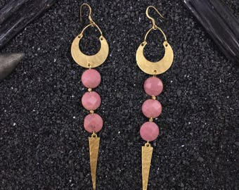 Moon Spike earrings |  Brass crescent moons with rhodonite crystals and spikes