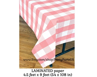 pink plaid table cover, gingham tablecloth, picnic tableware, baby shower decorations, summer birthday, bridal shower, pink lemonade theme