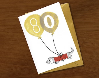 Dog milestone cards etsy 80th birthday card birthday card 80 years special celebration gold ink eighty bookmarktalkfo Choice Image