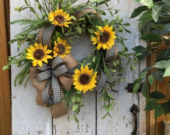 Sunflower wreath for front door, Sunflower wreath, Summer Spring wreath, Year round wreath, Farmhouse wreath