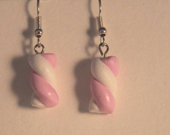 Pink Marshmallow Earrings, Handmade  Marshmallow Earrings, kawaii cookie jewelry, miniature dessert jewelry, realistic food jewelry