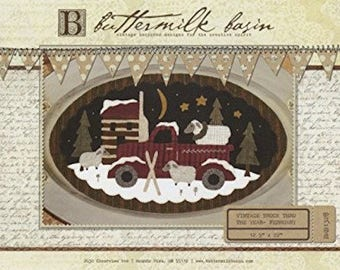 "Pattern: Vintage Truck Thru the Year - February ""Sheep & Cabin"" by Buttermilk Basin"