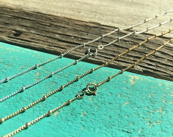 14k gold filled satellite chain necklace Real gold chain 925 Sterling Silver chain 18 inch short 30 inch long Sold Separately OR As Upgrade