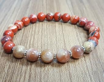 8 mm Red Jasper, Sunstone bracelet, Buddhist Mala Bracelet ,Yoga Bracelet ,Healing Bracelet