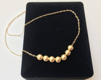 Solid Gold Bead Necklace 14K SOLID Gold with Seven (7) 5mm Round Beads - 14K Marked 1.2mm Chain - Heirloom Quality - Seven Wishes Necklace