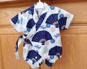 Baby Kimono Romper, Baby Kimono Onesie, Baby Kimono Bodysuit, Baby Kimono, Baby Jinbei 0-3 Mo, 3-6 Mo, 6-12 Mo.