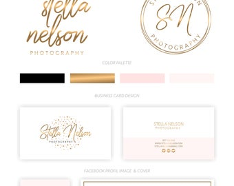 Branding Package, Branding Kit, Premade Logo, Watercolor Logo, Logo Design, Gold Logo, Pink Logo,Calligpaphy, Photography Logo, Wedding Logo