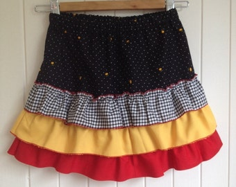 Size 9  Girls summer party skirt with bottom flounces