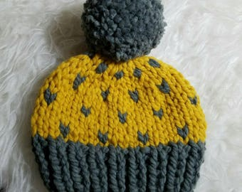 Heart Beanie | Ready to Ship Knit Heart Beanie | Knit Hat |
