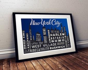 New York Skyline Art Print. NYC Typography. Quote Poster Print. City Map Print.  Night Time