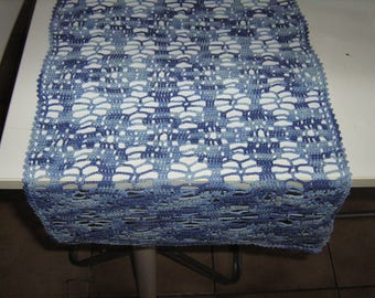 Blue table runner in the hand-made hook