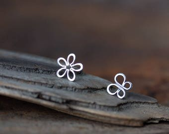 Mismatched Earring Set, Small Bohemian Hippie Earrings, Sterling Silver Flower and Buterfly Stud Earrings, Simple Minimalist Wire Outline