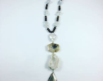 Freshwater Pearl, Agate and Tiger's Eye Necklace