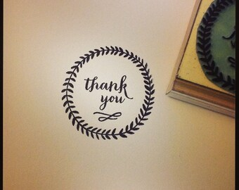 Calligraphy Thank You in Laurel Wreath Rubber Stamp