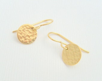 tiny gold earrings hammered small disc textured 14k gold filled dangle everyday simple modern jewelry leverback lever back gift for her 3/8""