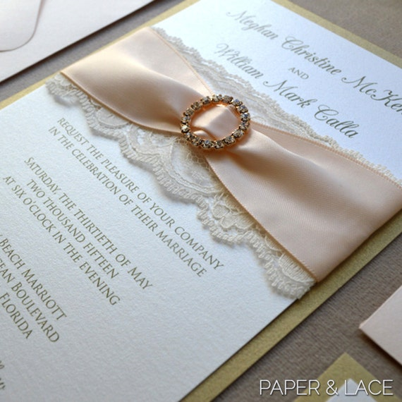 MEGHAN - Blush and Gold Lace Wedding Invitation - Ivory Lace and Pale Peach Ribbon - Gold Rhinestone Buckle