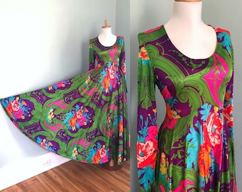 Vintage 60s 70s Psychedelic Hippie Maxi Dress Long Sleeve  Huge Full Sweep Retro 60s 70s Disco Maxi Dress