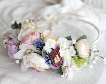 Wedding Flower Halo \ Bridal Floral Crown Hair Wreath Summer Flower Crown Bridal Hairpiece White Flower Crown