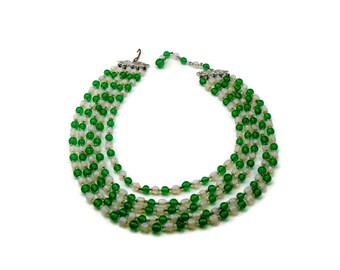Opalescent Green Glass Multi Strand Bead Necklace, Vintage Estate Jewelry, 1950s Jewelry
