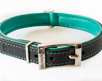 Classic Black & Green Leather Collar