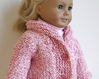 18 Inch Doll Clothes Knit Cardigan Sweater with Collar in Light Pink Twist  Handmade to fit the American Girl Doll