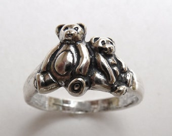 Two Teddy Bears Sitting Side by Side Ring Sterling Silver