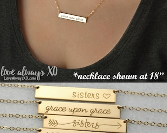 Personalized Bar Necklace, sister necklace, best friend necklace, sister gift, best friend gift, bridesmaid gift, gift for her
