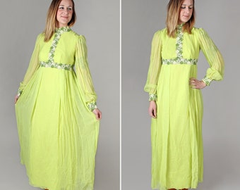 Vintage 1960s Neon Lime Chiffon Maxi Dress - Formal 60s Psychedelic Boho Long Sleeve Bohemian Green Women's Long Flowers - Size Small S