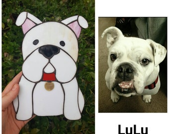 Stained Glass Personalized Bulldog - Made to Order