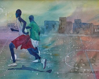 Dakar Soccer Watercolor Print, African American Art, Family Art, Urban Art, Abstract Art, African Art, Home Decor Art, African Print
