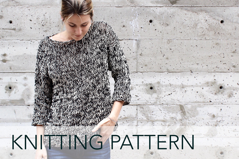 Knitting Pattern // Boatneck 3/4 Sleeve Simple Drop Sleeve Nautical ...