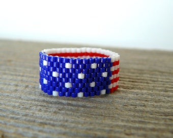 American Flag Ring Red White and Blue Bead Ring U.S. Flag Beaded Band Patriotic Jewelry Americana Ring 4th of July Jewelry