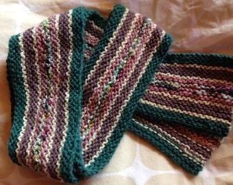 Multicolor Handknit Wool Scarf.  Warm Winter Scarf, Great Gift.