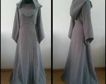 Made to order:costum colours linen pagan Avalon gown  with hood. dress druid historical priestess woodland fairy witch elvish