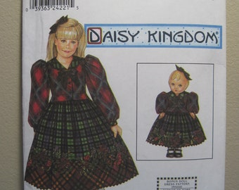 "Simplicity 9359 - Daisy Kingdom dress in sizes 3, 4, 5, 6/Includes matching dress pattern for 18"" doll. Pattern is uncut & factory folded."