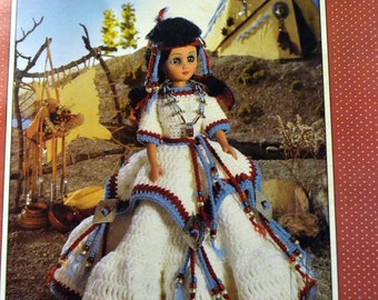 "Indian Princess Doll Outfit Crochet Patterns Fibre Craft Doll For 15"" doll"