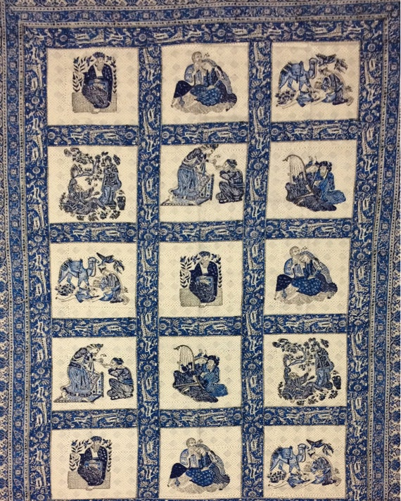 Very unique middle eastern tapestry, traditional block printed textile -natural dyes tablecloth